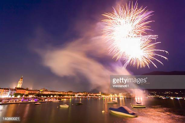 Switzerland, Ticino, View of firework celebration during Swiss national day