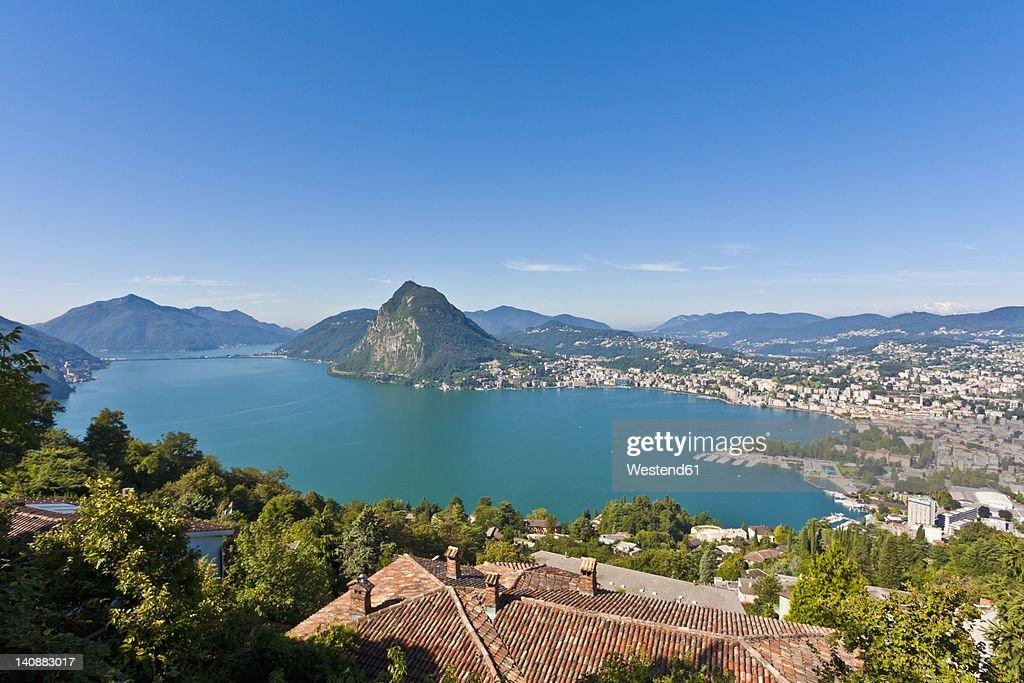 Switzerland, Ticino, View of Lugano city with Lake Lugano