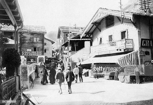 Switzerland Valais Alps Zermatt street scene date unknown around 1906