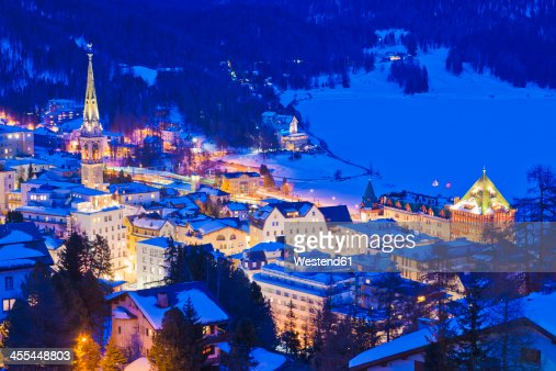 Switzerland, View of St Moritz townscape