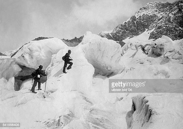 Switzerland Wallis Bernese Alps alpinists climbing in the Mont Blanc area Photographer Wuerthle Sohn Published by 'Berliner Illustrirte Zeitung'...