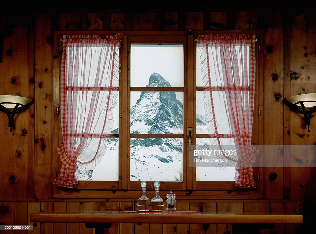 Switzerland, Zermatt, Matterhorn mountain, view through window : Stock Photo