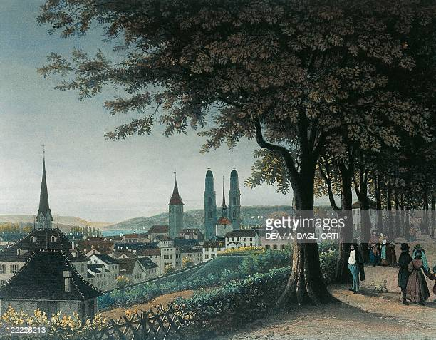 Switzerland Zurich 19th century View of the city Color print