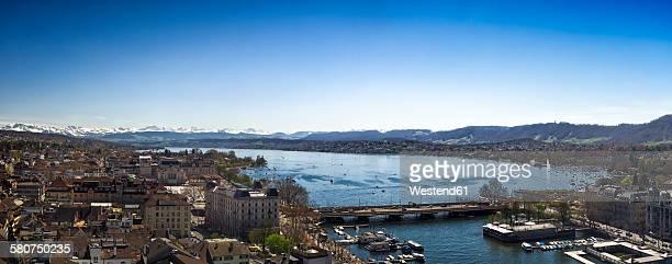 Switzerland, Zurich, Cityscape, Lake Zurich and Limmat river, Panorama
