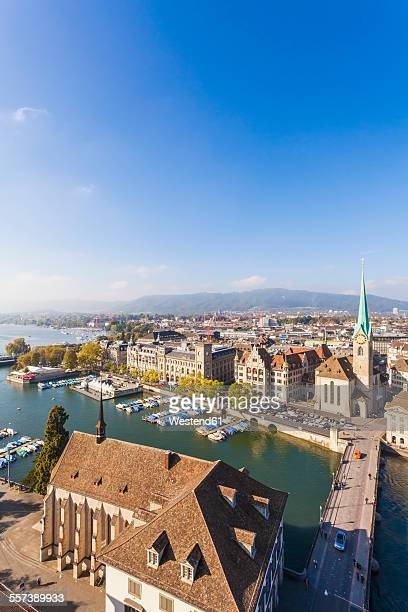 Switzerland, Zurich, Cityview, Limmat River, Town House Quai, Fraumuenster Church and Muenster Bridge