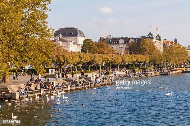 Switzerland, Zurich, Lake Zurich, Uto Quai, waterfront promenade