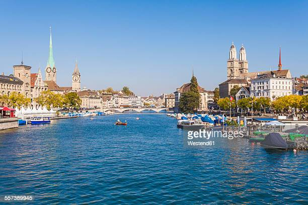 Switzerland, Zurich, Limmat River, Fraumuenster Church and St. Peter Church left, Great Minster right