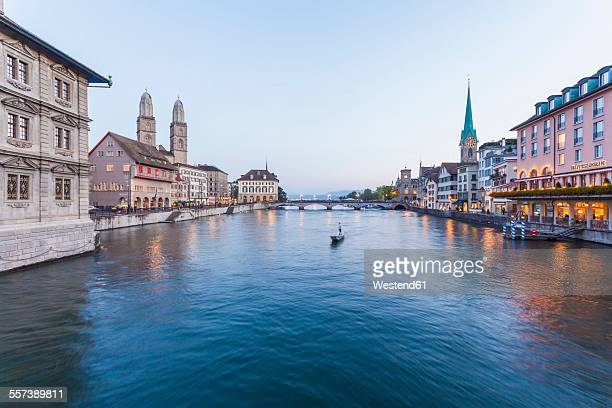 Switzerland, Zurich, River Limmat, Limmatquai, Town hall, Great minster and Fraumuenster Church