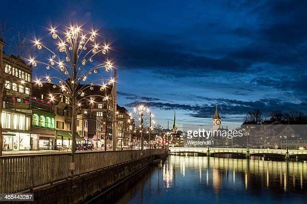 Switzerland, Zurich, View of Christmas celebration at River Limmat