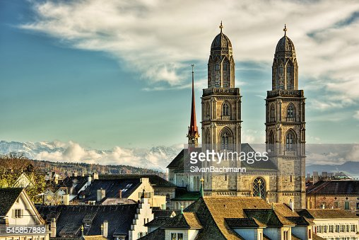 Switzerland, Zurich, View of Great Minster and town