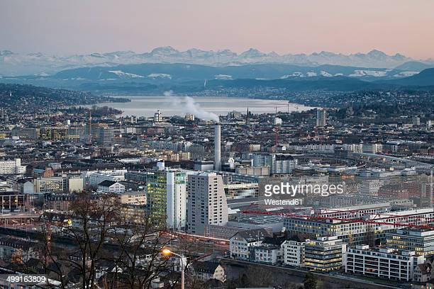 Switzerland, Zurich, view to city with Zurichsee in front of the Swiss Alp