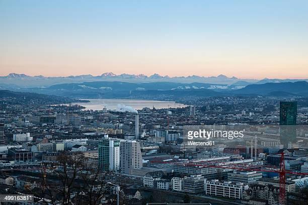 Switzerland, Zurich, view to city with Zurichsee in front of the Swiss Alp