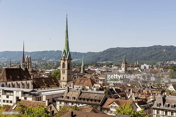 Switzerland, Zurich, view to cityscape with Frauenmuenster