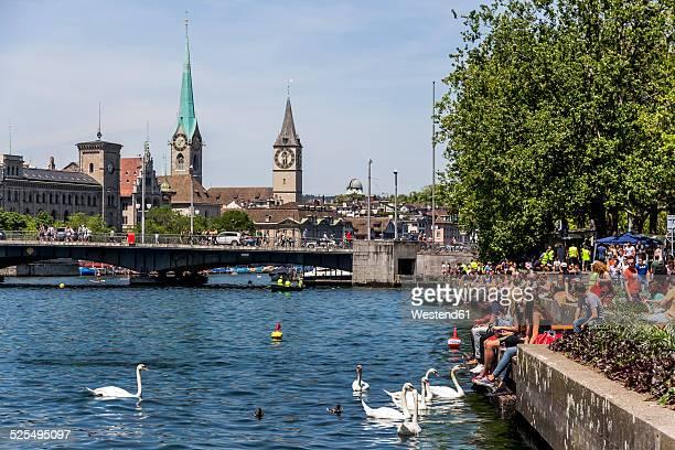 Switzerland, Zurich, view to Limmat River and Lake Zurich