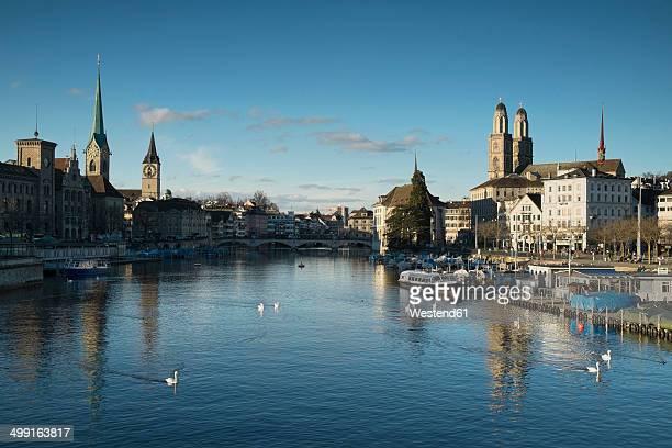 Switzerland, Zurich, view to Limmat River and Limmatquai