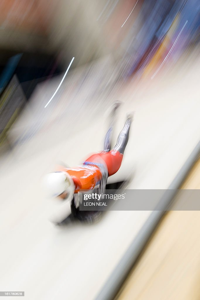Switzerland's Barbara Hosch takes part in the first run in the Women's Skeleton competition in the FIBT Bob & Skeleton World Cup at the Sanki Sliding Centre, some 50 km from Russia's Black Sea resort of Sochi, on February 16, 2013. USA's Noelle Pikus-Pace went on to take first place. With a year to go until the Sochi 2014 Winter Games, construction work continues as tests events and World Championship competitions are underway.