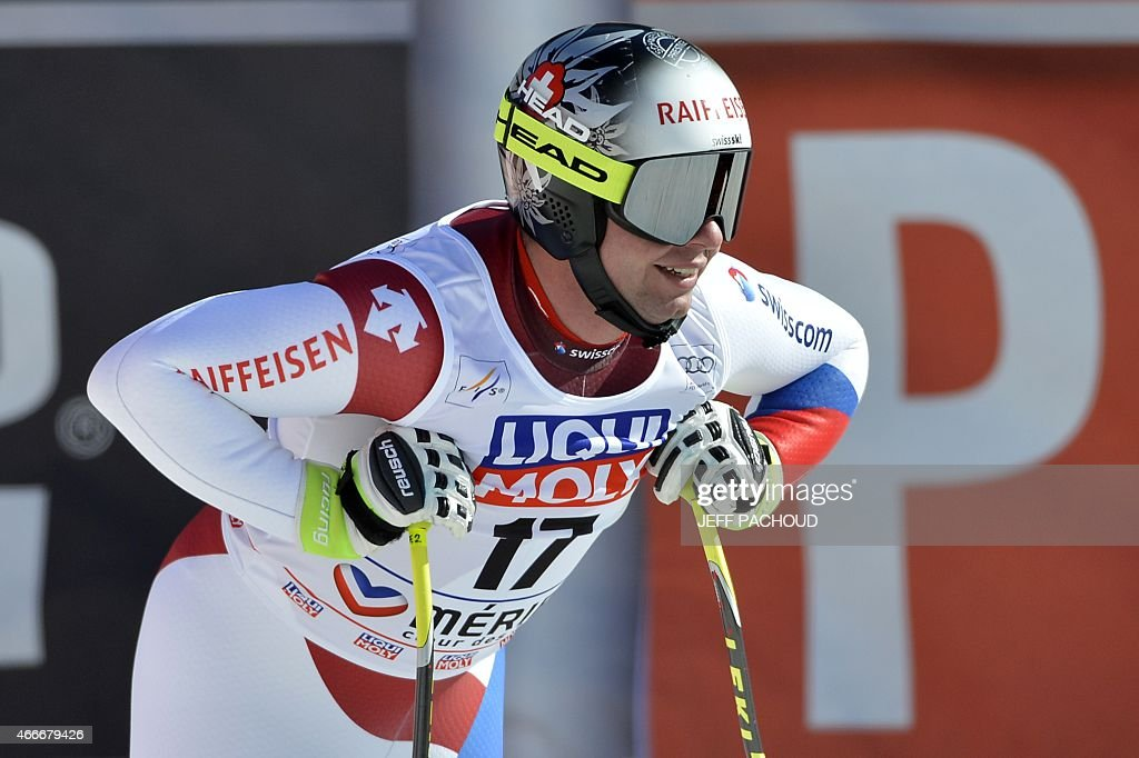 Switzerland's <a gi-track='captionPersonalityLinkClicked' href=/galleries/search?phrase=Beat+Feuz&family=editorial&specificpeople=4193254 ng-click='$event.stopPropagation()'>Beat Feuz</a> reacts after the Men's downhill at the FIS Alpine Skiing World Cup finals in Meribel on March 18, 2015.
