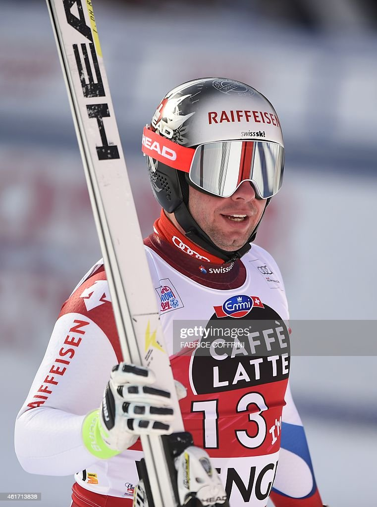 Switzerland's <a gi-track='captionPersonalityLinkClicked' href=/galleries/search?phrase=Beat+Feuz&family=editorial&specificpeople=4193254 ng-click='$event.stopPropagation()'>Beat Feuz</a> reacts during the FIS Alpine Ski World Cup Men's Downhill in Wengen on January 18, 2015.