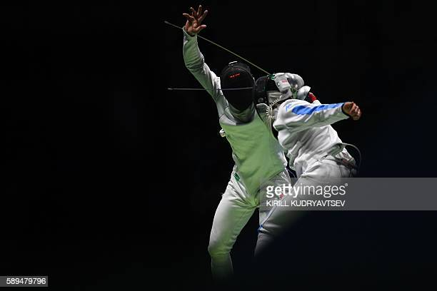 Switzerland's Benjamin Steffen competes against Italy's Paolo Pizzo during the mens team epee quarterfinal bout between Italy and Switzerland as part...
