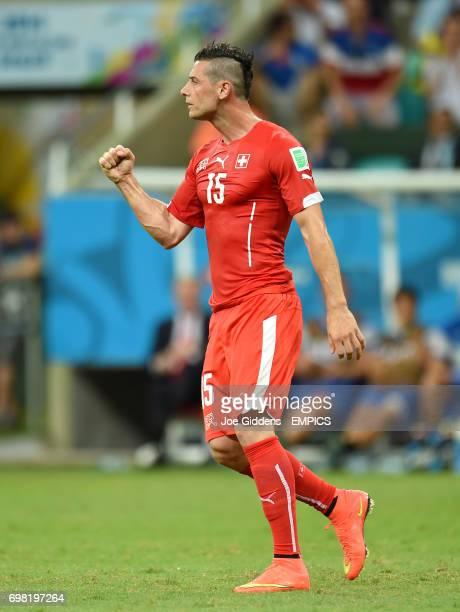 Switzerland's Blerim Dzemaili celebrates scoring their first goal