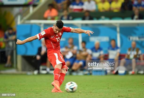 Switzerland's Blerim Dzemaili scores their first goal