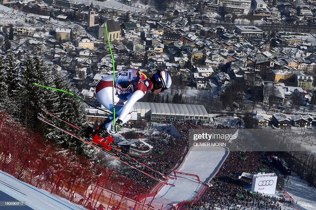 Switzerland's Carlo Janka competes during the men's World Cup Downhill, on January 26, 2013 in Kitzbuehel, Austrian Alps.Italy's Dominik Paris won the race ahead Canda's Erik Guay and Austria's Hannes Reichelt . AFP PHOTO / OLIVIER MORIN