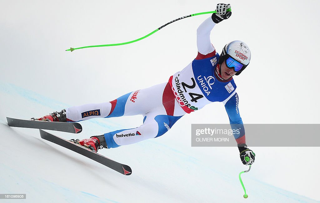Switzerland's Carlo Janka competes in the men's downhill event of the 2013 Ski World Championships in Schladming, Austria on February 9, 2013.