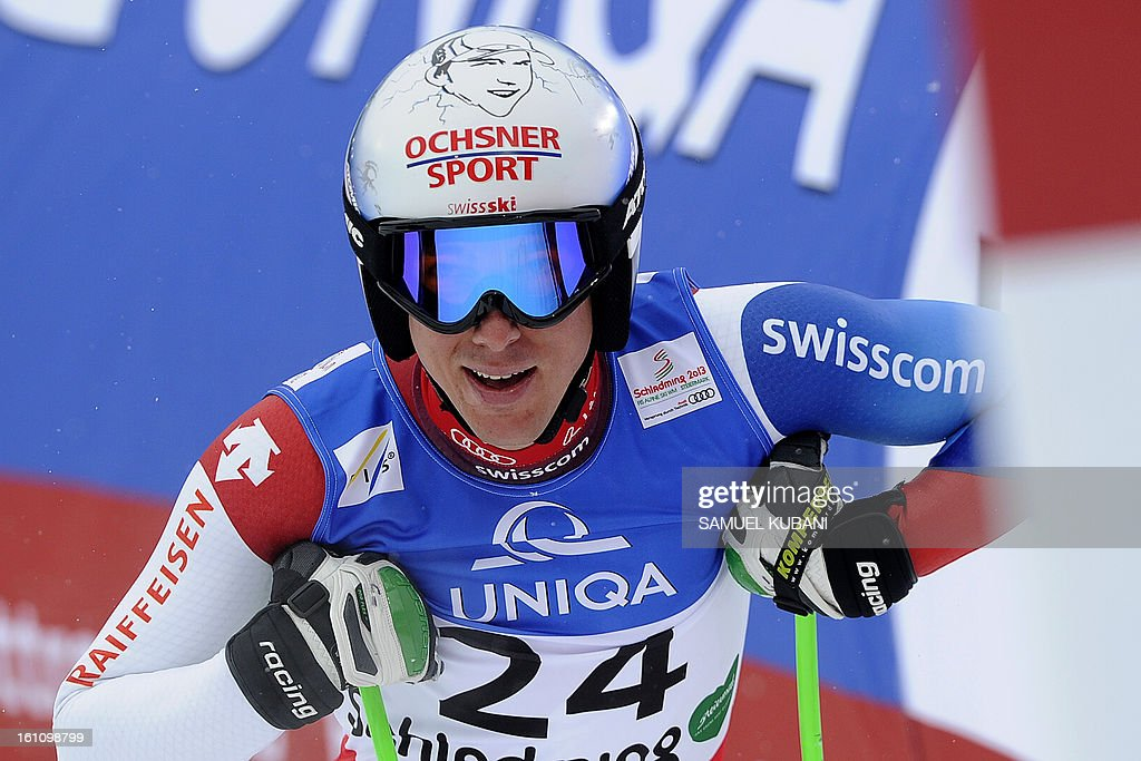 Switzerland's Carlo Janka reacts at finish line during the men's downhill event of the 2013 Ski World Championships in Schladming, Austria on February 9, 2013.