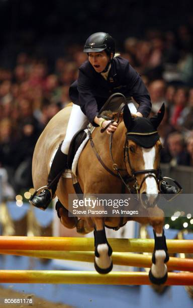 Switzerland's Christina Liebherr rides LB Lady Balu in the Martin Collins Eraser Stakes during the London International Horse Show at the Olympia...