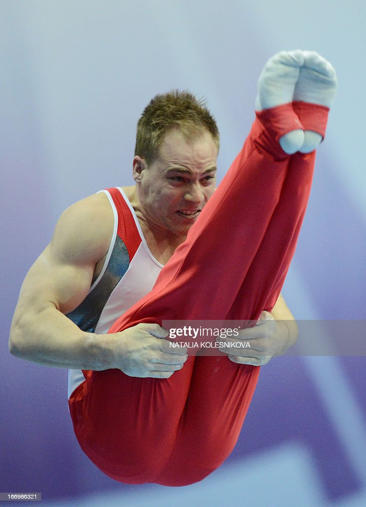 Switzerland's Claudio Capelli competes on the parallel bars in the men's all-around artistic gymnastics final during the 5th European Men's and Women's Artistic Gymnastic Individual Championships in Moscow on April 19, 2013. Russia's David Belyavskiy took the first place, United Kingdom's Max Whitlock took second place and Ukraine's Oleg Verniaiev took third place.