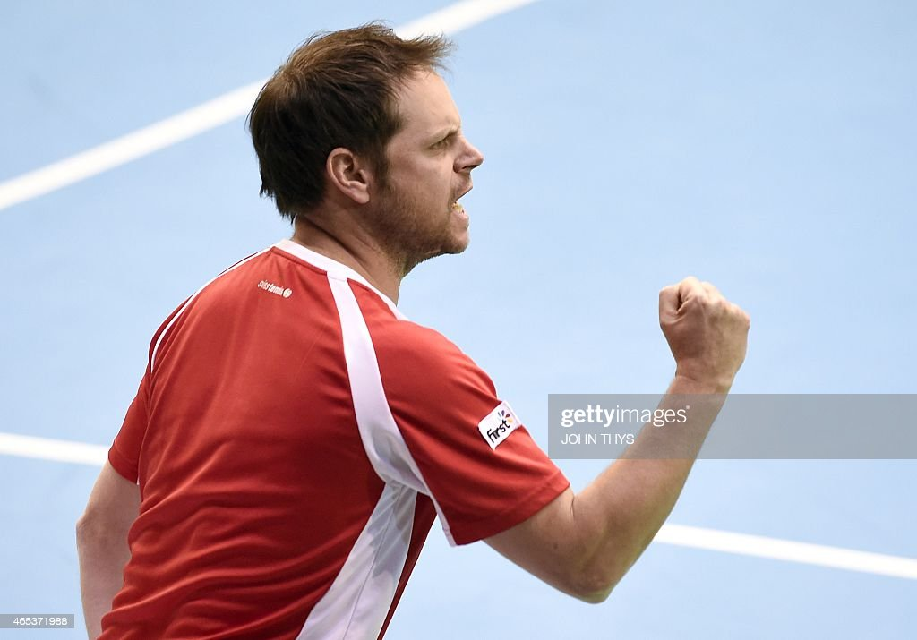 Switzerland's coach Severin Luthi reacts during the Davis Cup first round World Group meeting between Belgium's Ruben Bemelmans and Switzerland's Henri Laaksonen on March 6, 2015 in Liege.