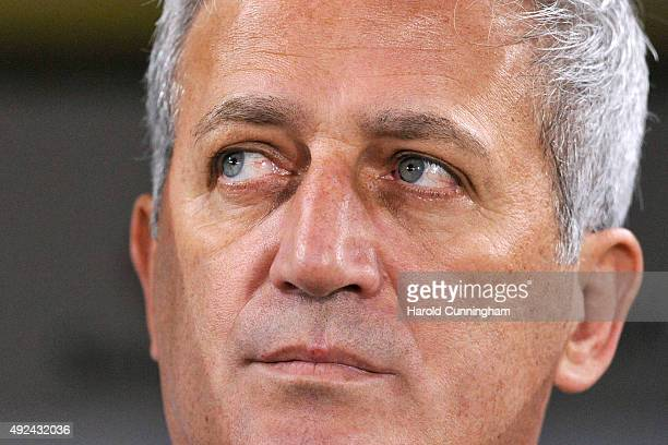 Switzerland's Coach Vladimir Petkovic looks on during the UEFA EURO 2016 qualifier between Switzerland and San Marino at AFG Arena on October 9 2015...