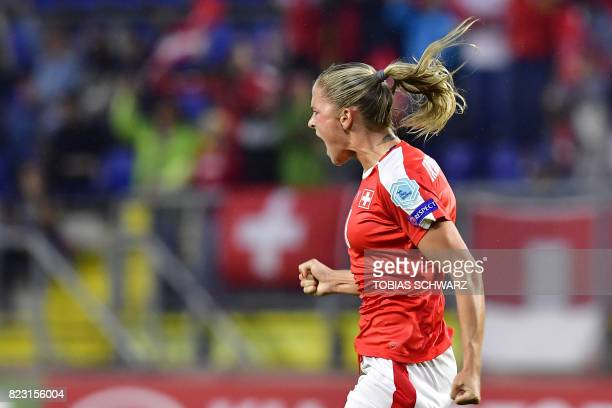 Switzerland's defender AnaMaria Crnogorcevic celebrates after scoring a goal during the UEFA Women's Euro 2017 football match between Switzerland and...