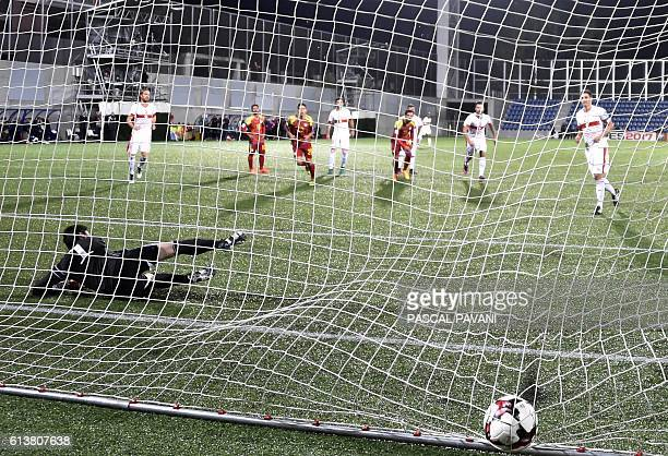 Switzerland's defender Fabian Schar looks on after scoring a penalty kick during the FIFA World Cup 2018 football qualifier between Andorra and...