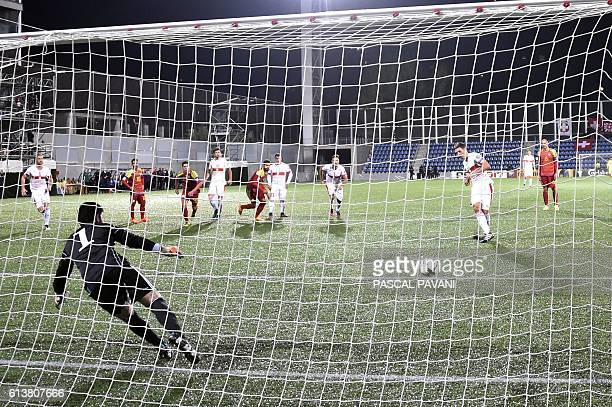 Switzerland's defender Fabian Schar shoots to score a penalty during the FIFA World Cup 2018 football qualifier between Andorra and Switzerland on at...