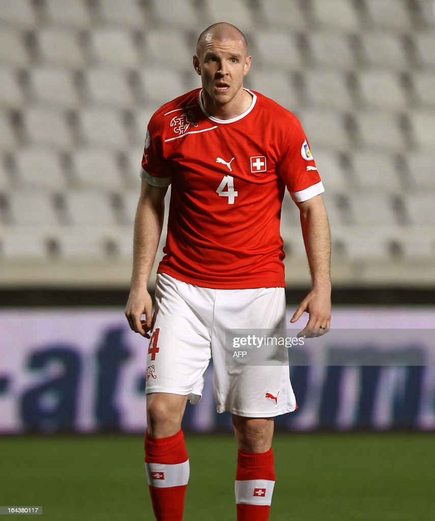 Switzerland's defender Philippe Senderos reacts during the 2014 World Cup European zone group E qualifying football match between Cyprus and Switzerland at GSP Stadium in Nicosia on March 23, 2013. The match ended in a goalless draw.