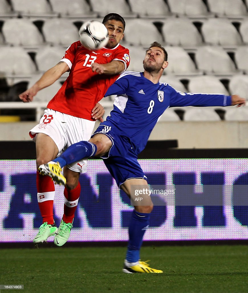 Switzerland's defender Ricardo Rodriguez (L) jumps to head the ball near Cyprus' midfielder Anthos Solomou during the 2014 World Cup European zone group E qualifying football match between Cyprus and Switzerland at GSP Stadium in Nicosia on March 23, 2013.