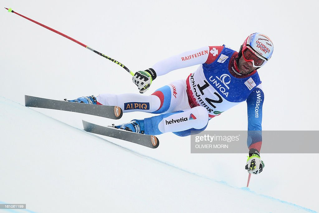Switzerland's Didier Defago competes during the men's downhill event of the 2013 Ski World Championshis in Schladming, Austria on February 9, 2013.