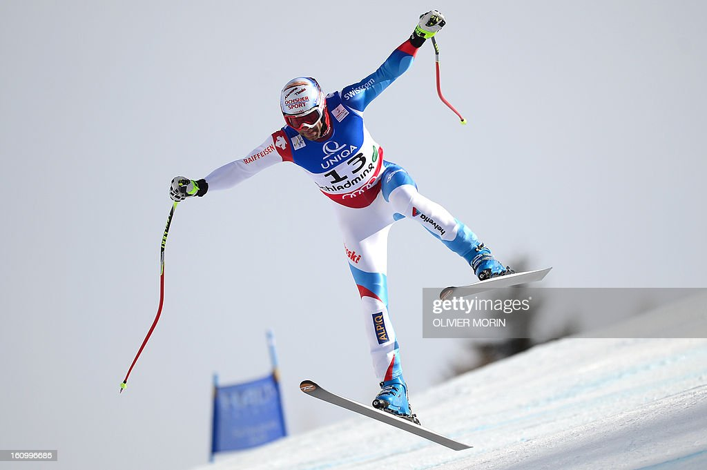 Switzerland's Didier Defago competes during the men's downhill training event of the 2013 FIS Alpine Ski World Championships in Schladming, Austria on February 8, 2013. AFP PHOTO / OLIVIER MORIN