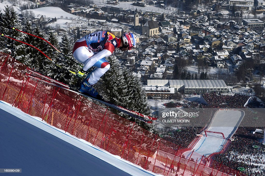 Switzerland's Didier Defago competes during the men's World Cup Downhill, on January 26, 2013 in Kitzbuehel, Austrian Alps . Italy's Dominik Paris won the event, Canada's Erik Guay finished second and Austria's Hannes Reichelt third.