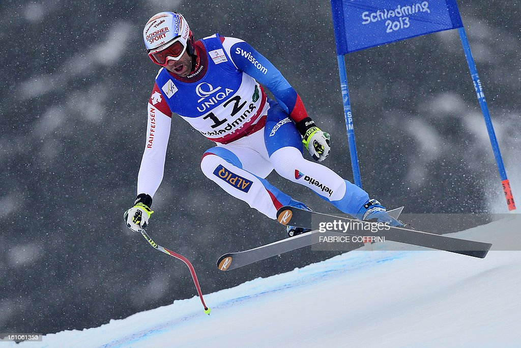 Switzerland's Didier Defago comptes during the men's downhill event of the 2013 Ski World Championships in Schladming, Austria on February 9, 2013.