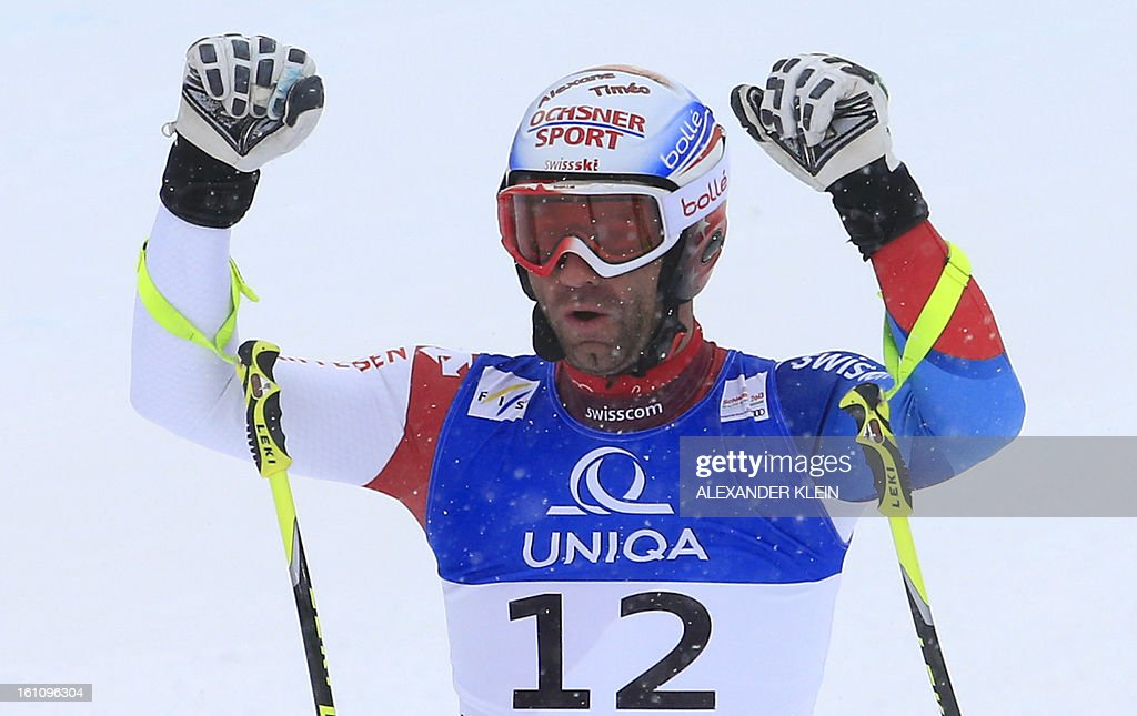 Switzerland's Didier Defago reacts after competing in the men's downhill event of the 2013 Ski World Championships in Schladming, Austria on February 9, 2013. AFP PHOTO / ALEXANDER KLEIN