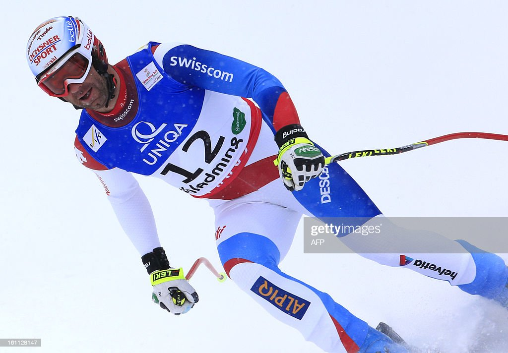 Switzerland's Didier Defago reacts after competing in the men's downhill event of the 2013 World Ski Championships in Schladming, Austria on February 9, 2013.