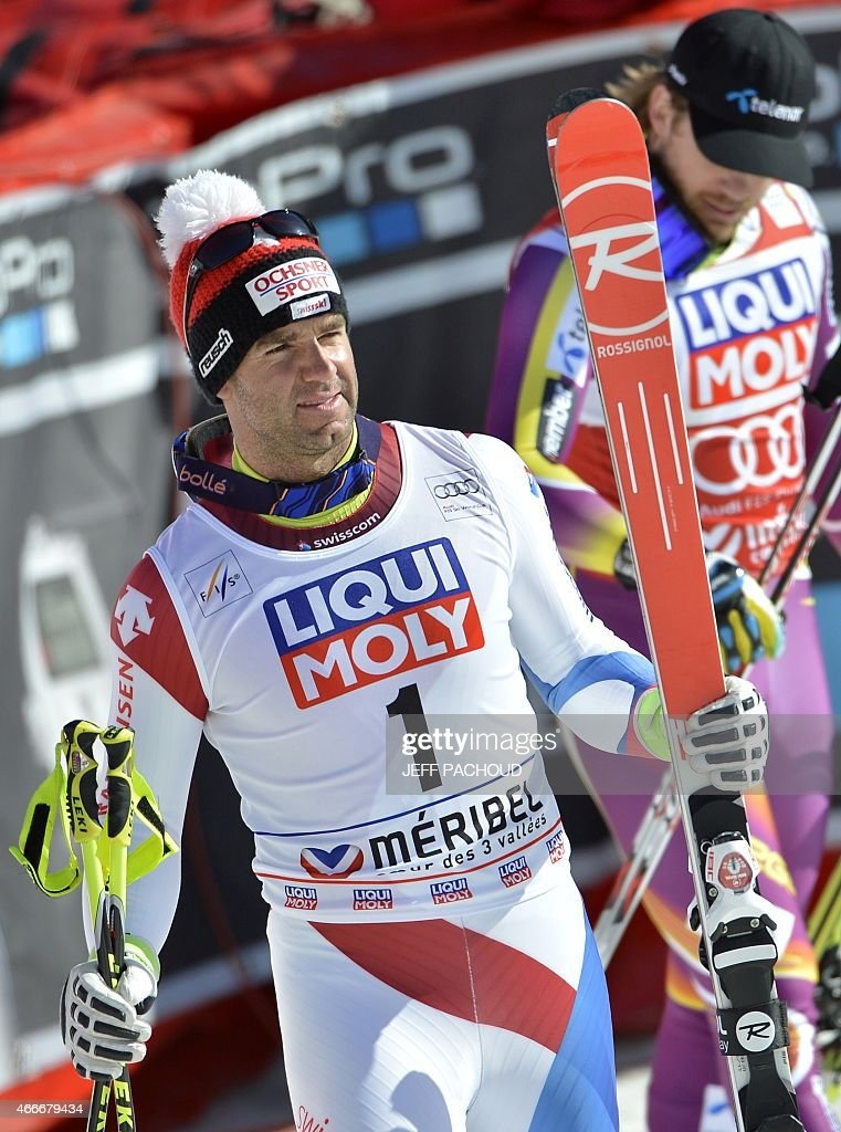 Switzerland's <a gi-track='captionPersonalityLinkClicked' href=/galleries/search?phrase=Didier+Defago&family=editorial&specificpeople=241278 ng-click='$event.stopPropagation()'>Didier Defago</a> reacts after the Men's downhill at the FIS Alpine Skiing World Cup finals in Meribel on March 18, 2015.