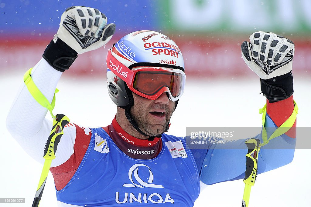 Switzerland's Didier Defago reacts at finish line during the men's downhill event of the 2013 Ski World Championships in Schladming, Austria on February 9, 2013. AFP PHOTO / SAMUEL KUBANI