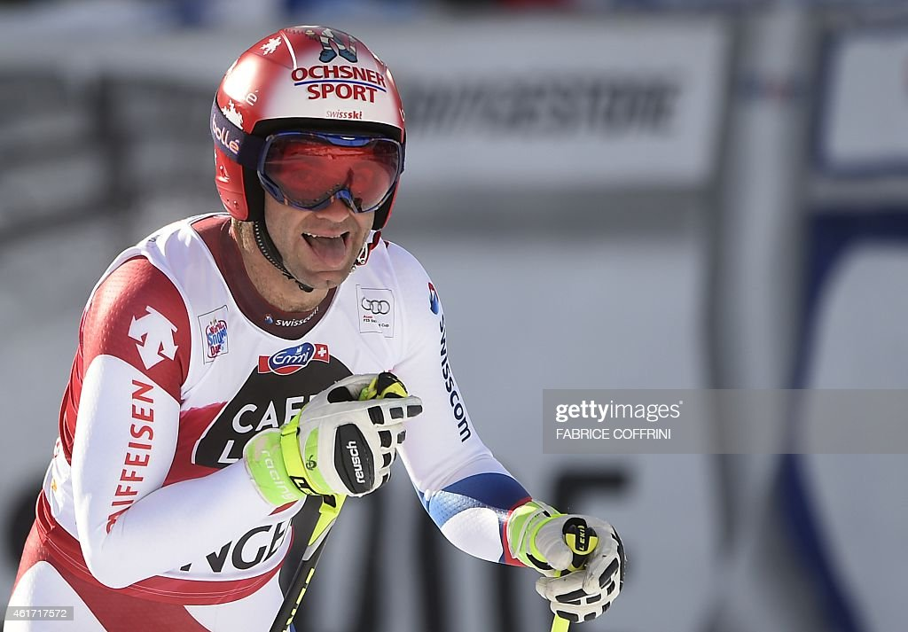Switzerland's <a gi-track='captionPersonalityLinkClicked' href=/galleries/search?phrase=Didier+Defago&family=editorial&specificpeople=241278 ng-click='$event.stopPropagation()'>Didier Defago</a> reacts during the FIS Alpine Ski World Cup Men's Downhill in Wengen on January 18, 2015.