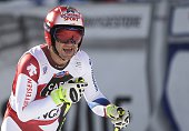 Switzerland's Didier Defago reacts during the FIS Alpine Ski World Cup Men's Downhill in Wengen on January 18 2015 AFP PHOTO / FABRICE COFFRINI
