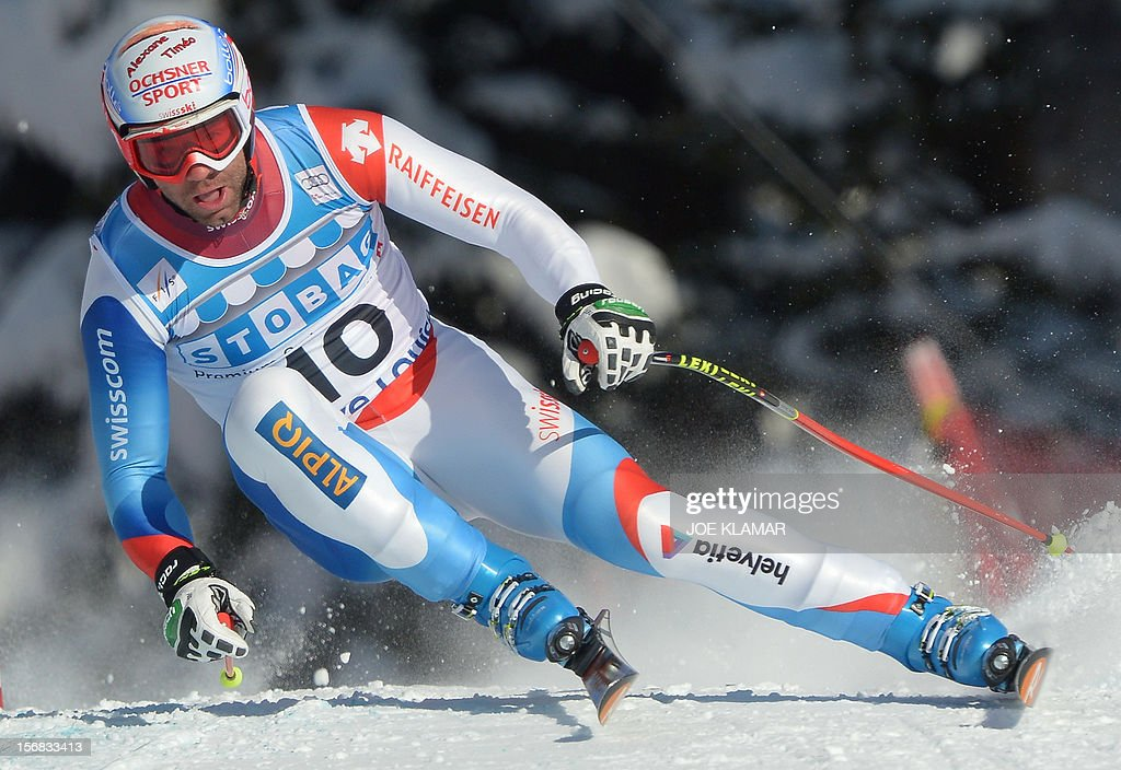 Switzerland's Didier Defago skis during the downhill practice for the Alpine Skiing World Cup in Lake Louise, Canada on November 22, 2012.