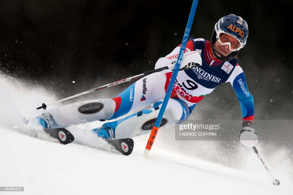 Switzerland's Dominique Gisin competes during the women's Super Combined slalom event of the 2013 Ski World Championships in Schladming, Austria on February 8, 2013.