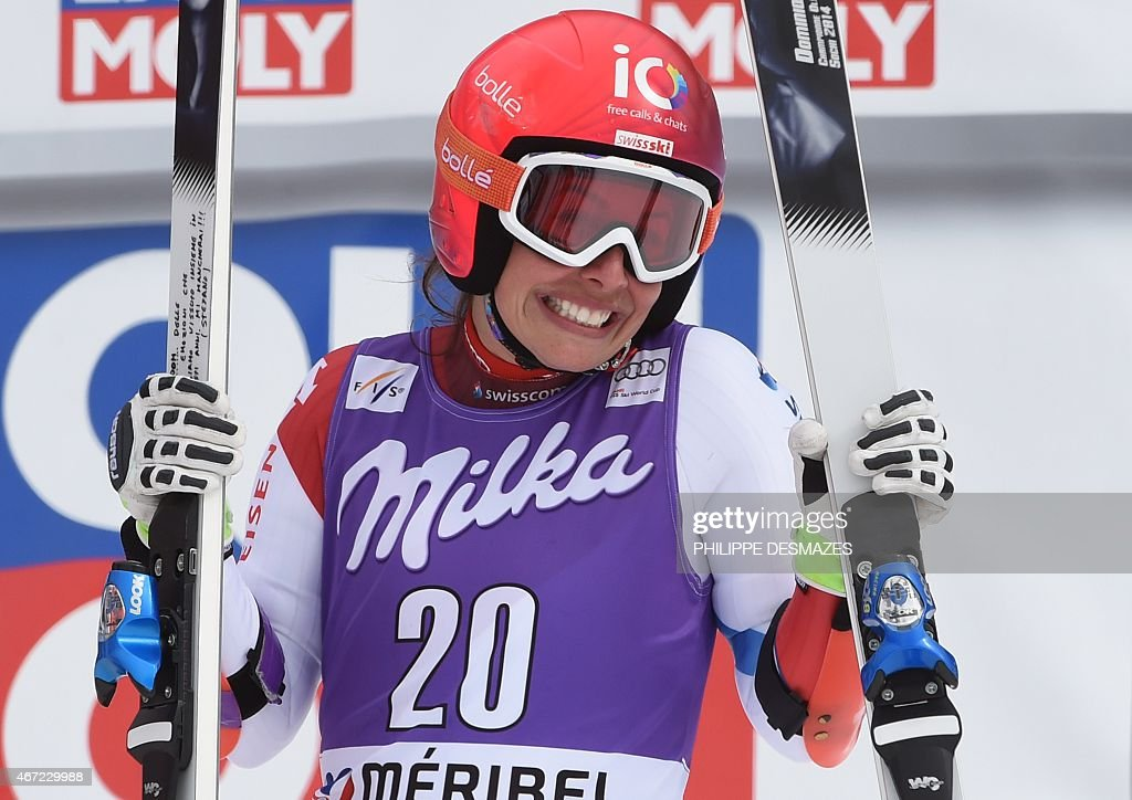 Switzerland's <a gi-track='captionPersonalityLinkClicked' href=/galleries/search?phrase=Dominique+Gisin&family=editorial&specificpeople=4083154 ng-click='$event.stopPropagation()'>Dominique Gisin</a> reacts after taking part in the second run of the Women's Giant Slalom race at the FIS Alpine Skiing World Cup finals in Meribel on March 22, 2015.